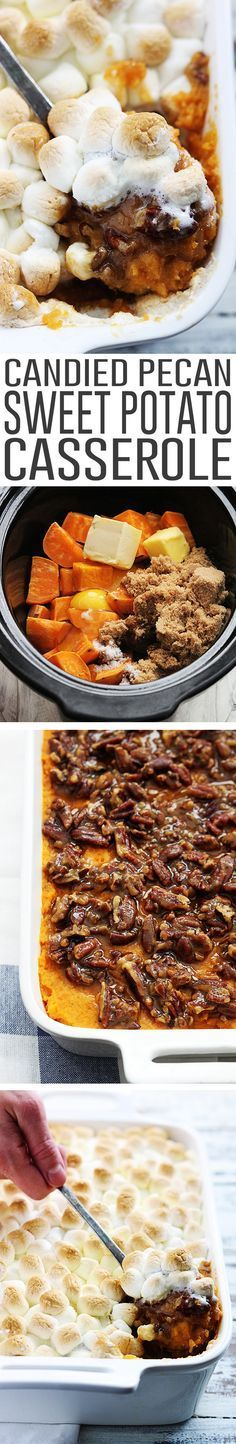 Creamy sweet potato casserole with a crunchy candied pecan topping and toasted…
