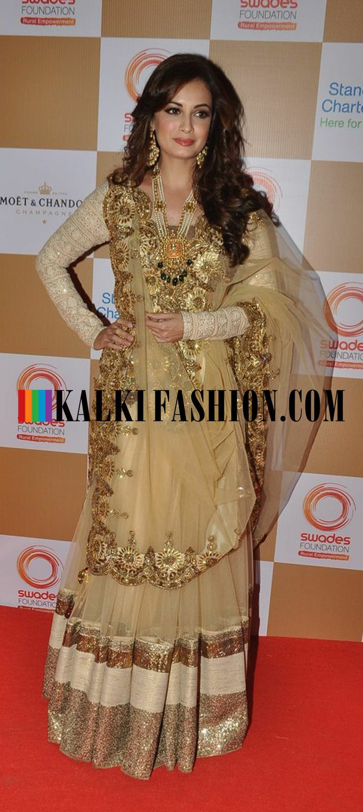 Dia Mirza in beige and gold embroidered lehenga by Vikram Phadnis attends the Swades Foundation (1) http://www.kalkifashion.com/