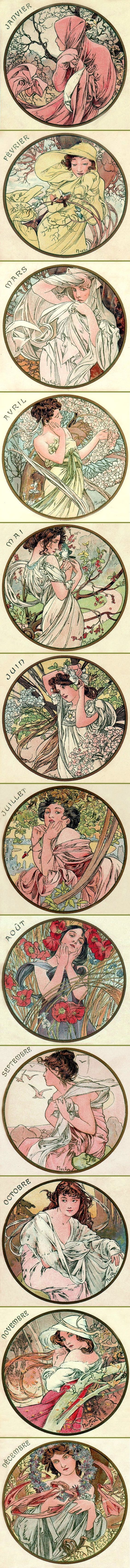 Alphonse Mucha - The Months (1899):