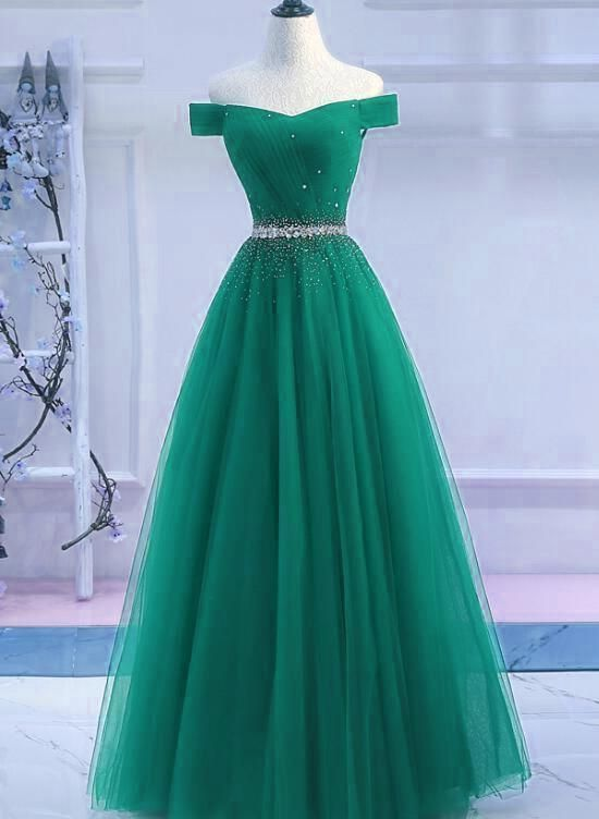 e82d93c12a0 Off the Shoulder Tulle A Line Prom Dress