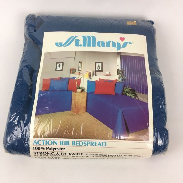 """New VTG Solid Blue Bedspread Ribbed Coverlet Twin 76"""" X 105"""" NOS St Marys Retro"""