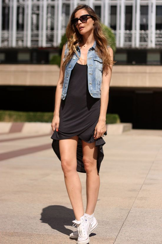 fishtail dress, sneakers, and denim