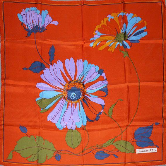 Zandra Rhodes 1960S Textiles | Striking Christian Dior silk scarf,