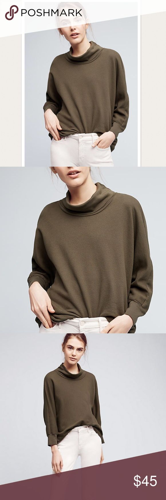 NWT Anthropologie Bente Fleece Pullover Style No. 4112090625889 ; #117 Master T-shirt maker Moise Emquies presents his take on casual weekend wear with Stateside, a collection of so-soft separates. Each American-made piece was meticulously cut and crafted from premium jersey fabric, giving standard relaxation a refreshingly luxe update. With quality and comfort embedded in every design, each cozy staple is made for seamless transitions from bedroom to brunch. Cotton fleece Bat sleeves…