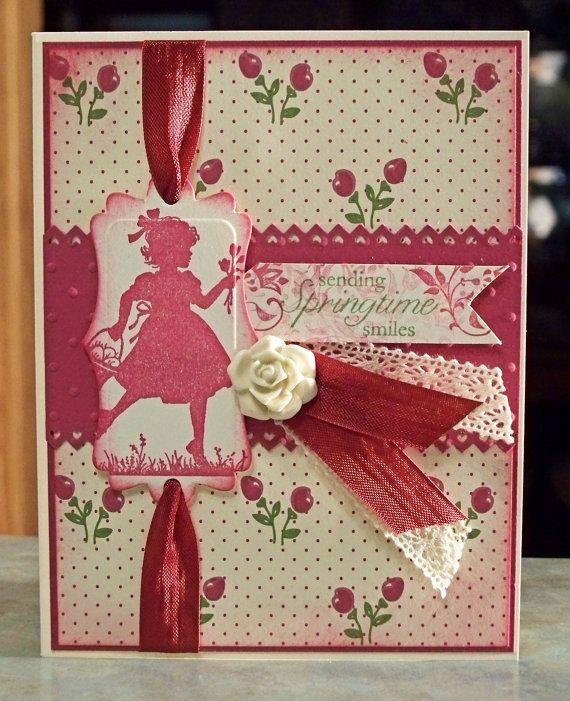 Handmade Spark - WhimsyArt1 - Cute Card using Stampin Up Easter Blossoms, Sending Springtime Smiles