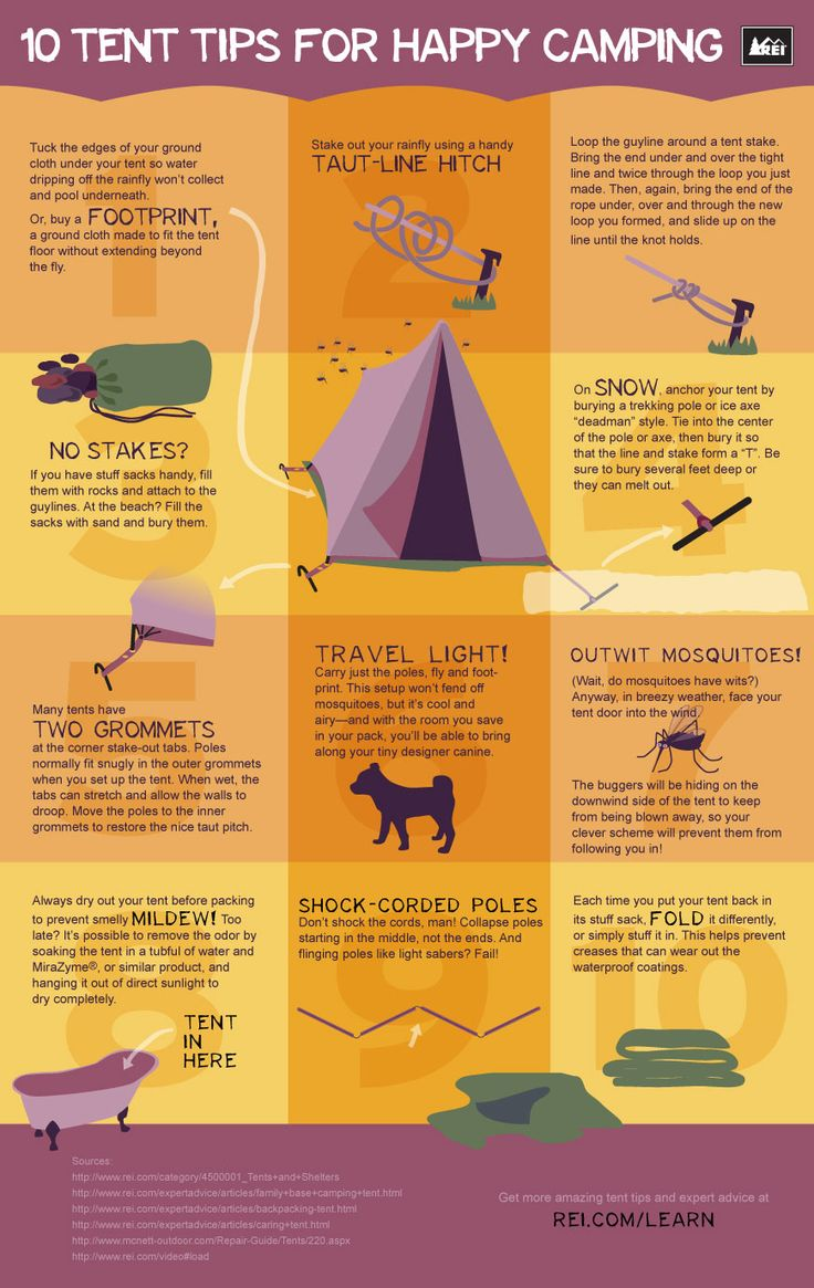 Tent infographic: Camps Ideas, Camping Tips, 10 Tent, Stuff, Tent Camping, Happy Camps, Camping Outdoor, Infographic, Tent Camps Tips