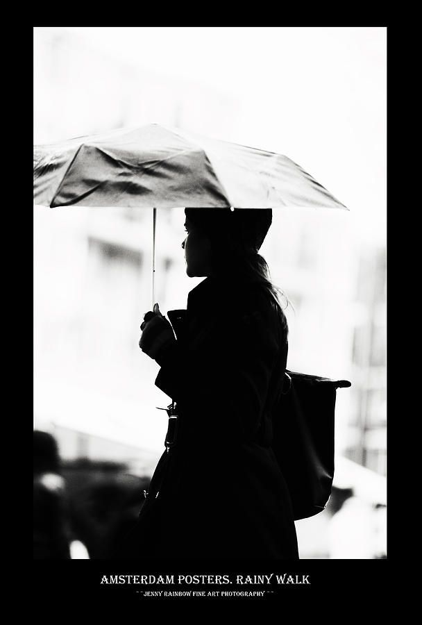 Amsterdam Posters. Rainy Walk by Jenny Rainbow