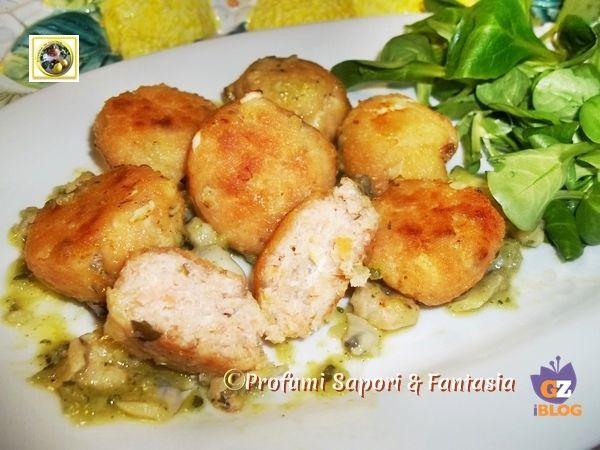Polpettine di salmone al forno in salsa di porri