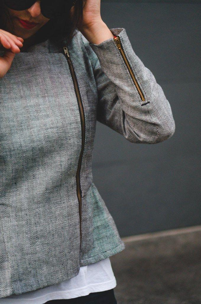 Wrist zipper // Moto Chic Jacket Pattern // Closet Case Files