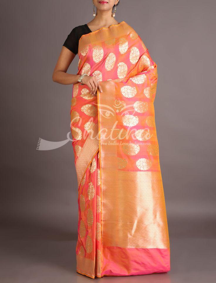 Aruna Delectable Paisley Motifs On Peach Banarasi Brocade Silk Saree
