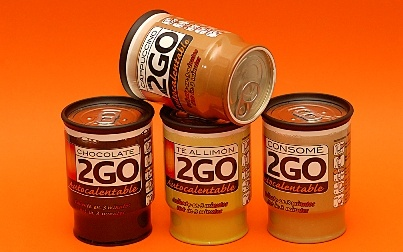 2GO: llaunes de cafè, cappuccino, tè a la llimona, xocolata i consomé autoescalfables! / 2GO: latas de café, cappuccino, té al limón, chocolate y consomé autocalentables! / 2GO: auto heatable cans of black coffee, cappuccino, lemon tea, chocolate and consommé!