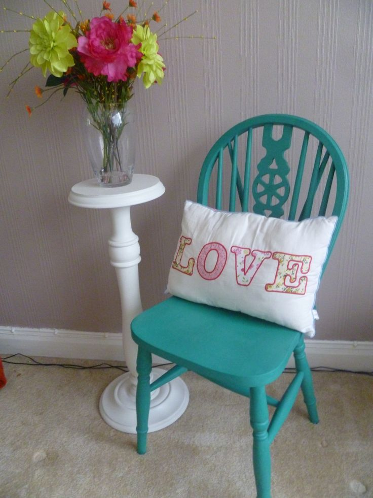 Green Wheel Back Chair Up cycled in