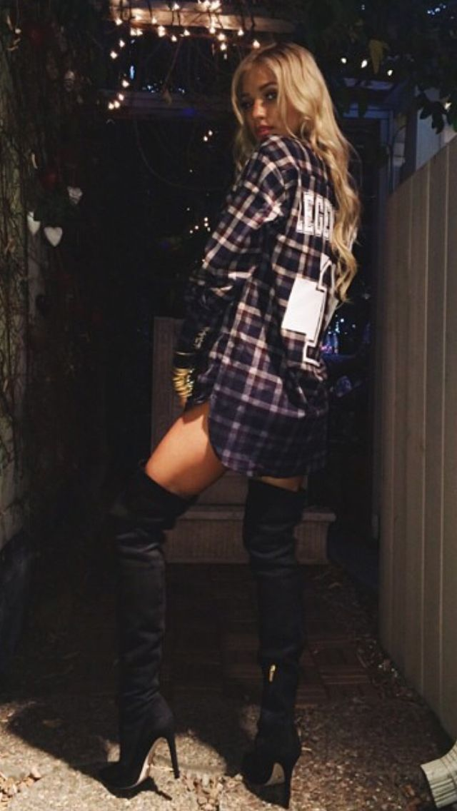 Red Plaid Oversized Shirt And Black Knee High Heels.