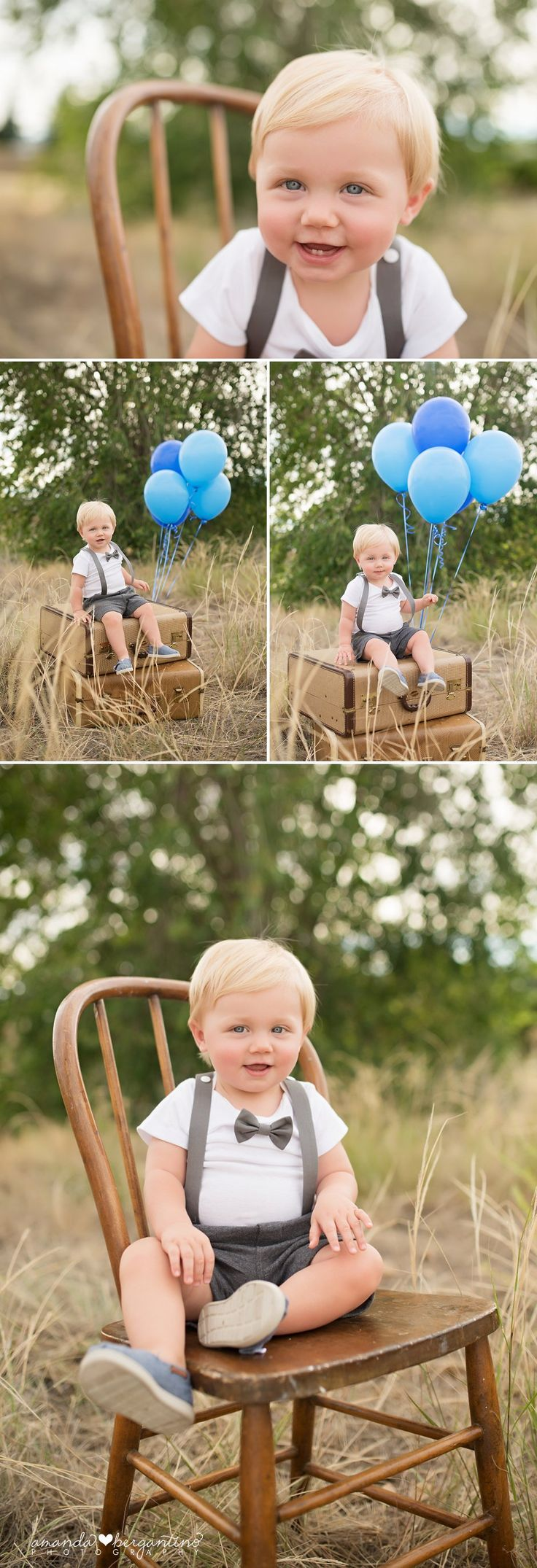 Baby Photography, one year old, vintage suitcases, bow tie and suspenders gray blue balloons first birthday