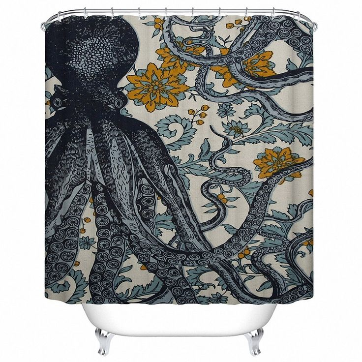 """Amazon.com: Custom Shower Curtain Mildew Resistant Waterproof Polyester Fabric Bathroom Shower Curtain Set with Hooks Bathroom Accessories Octopus 66""""(w) x 72""""(h): Home & Kitchen"""