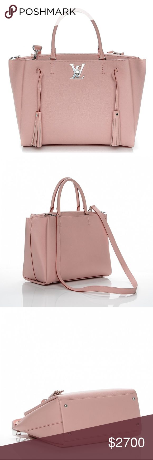 Authentic LV Calfskin Lockmeto Rose Poudre This chic handbag is crafted of grained calfskin leather in rose pink. The bag features looping pink leather strap top handles with pink tassel detailing at the front, an optional shoulder strap and a polished silver Louis Vuitton turn lock. This opens to a partitioned burgundy suede interior with a large center pocket with patch pockets. Looks brand new. Length: 12 in Width: 6 in Height: 9.50 in Drop: 5.25 in Comes With: strap, dust bag and box…