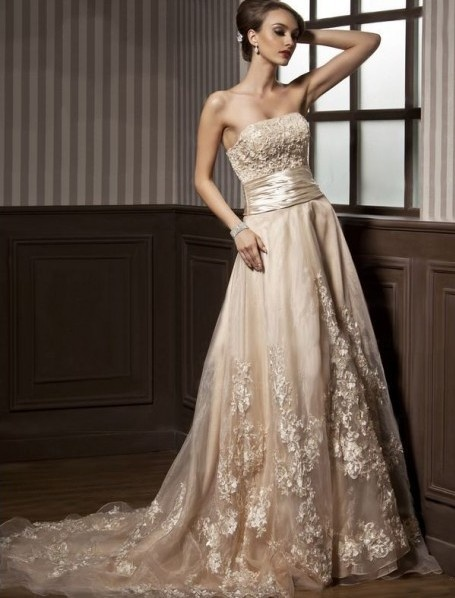 Champagne Wedding Dresses A Line : Champagne wedding dress color dresses