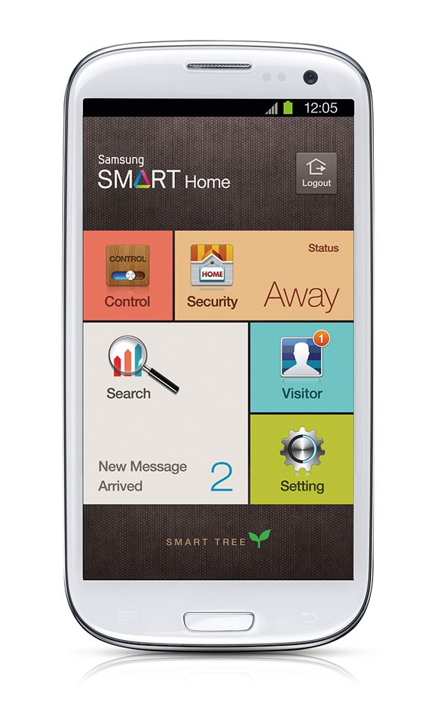 """Smart Home"" is an application which provides in-house care and control services that are accessible via smartphone or tablet anytime, anywhere. With the network system installed at home, gas valves, heating systems and lights can be controlled via any personal mobile device. In addition, if you were to leave, you would receive alerts about intrusions, gas leaks, and any other situation that may arise via SMS or mobile notification."