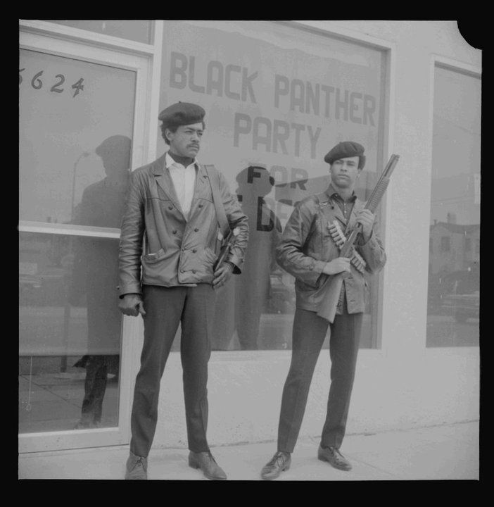 Bobby George Seale and Huey Newton of the Black Panther Party for Self Defense in Oakland, April 25, 1967. Photo: Bancroft Library