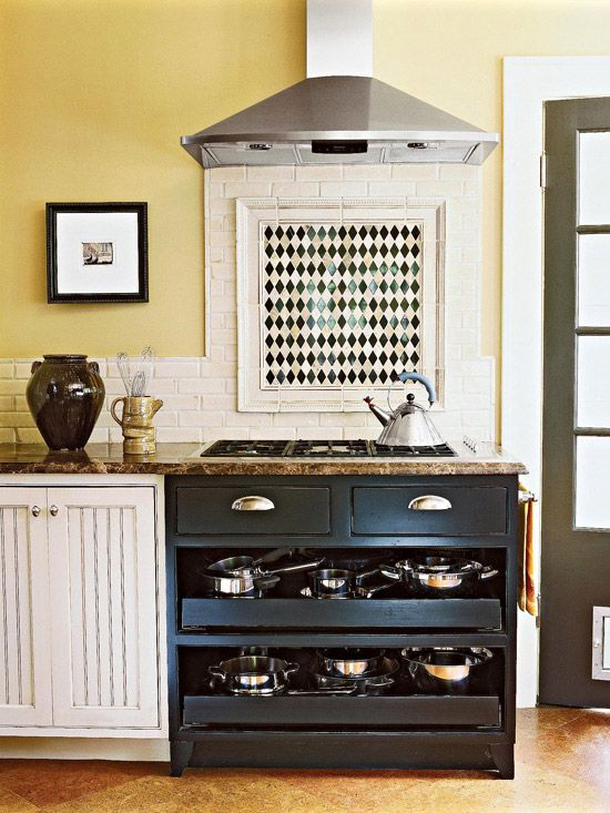 A Place for Pots and Pans    Fill in the space under a cooktop with a tilt-out tray for spices and rollout trays for pots and pans. Or, slide in a movable cart with shelves to accommodate cooking equipment.