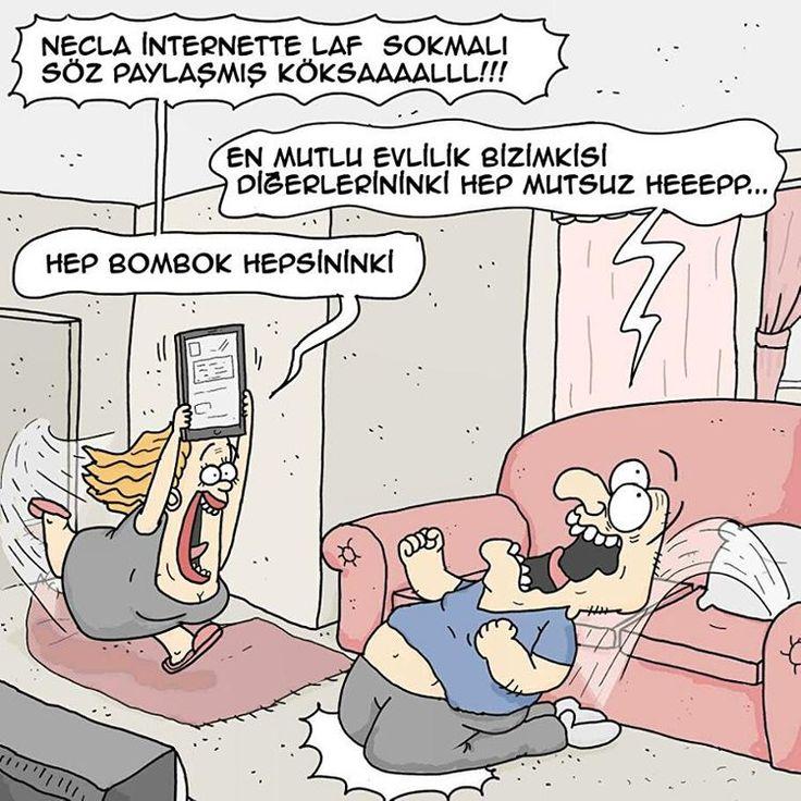 - Necla internette laf sokmalı söz paylaşmış Köksaaalll!!!  + En mutlu evlilik bizimkisi diğerlerinki hep mutsuz heeepp...  - Hep bombok hepsininki.  #karikatür #mizah #matrak #komik #espri #şaka #gırgır #komiksözler #serefefendiler