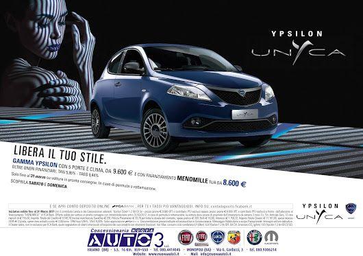 LIBERA IL TUO STILE.  #Lancia Ypsilon #unyca con 5 porte e clima, tua con finanziamento #menomille a 8.600 €  Anche Sabato e Domenica  www.nuovaauto3.it