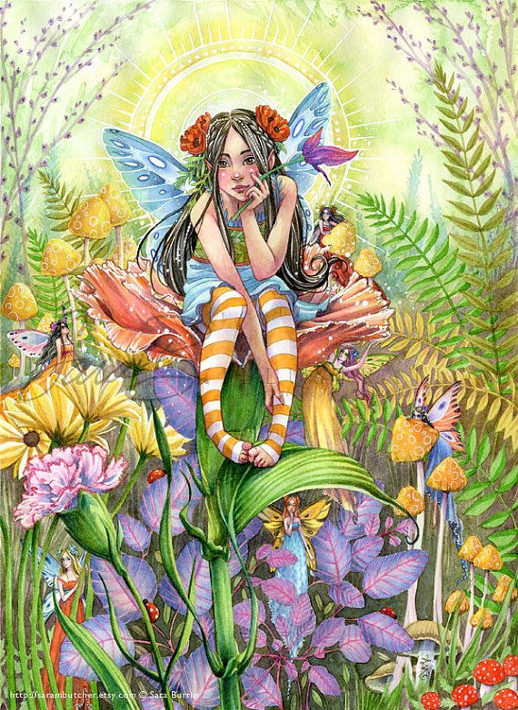 Fairy Art Print  Garden Fairies Playing Hide and by sarambutcher