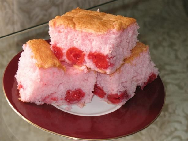 Cherry Angel Food Low Fat ) Recipe - Food.com -  16 ounces betty crocker angel food cake mix 1 (20 ounce) can sugar free cherry pie filling  Directions: 1.Mix the dry cake mix (do not follow box directions) and undrained can of pie filling by hand. 2.Pour into ungreased pan or cupcake tins. 3.Follow baking directions on the box.