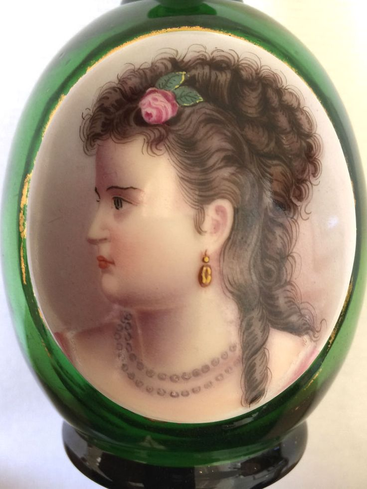 """Antique Bohemian Green Glass Portrait Vase - Marked - Highly Detailed 6 x 3.25"""""""