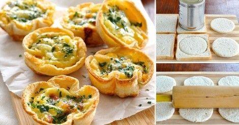 Mini+quiches+con+pan+de+molde+y+vegetales+