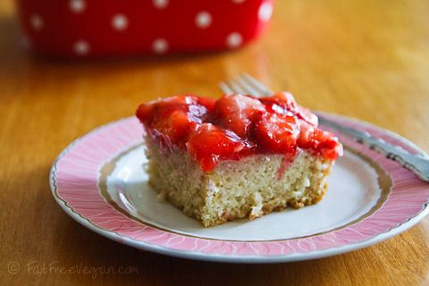 Strawberry Snack Cake - #vegan and very #low-fat