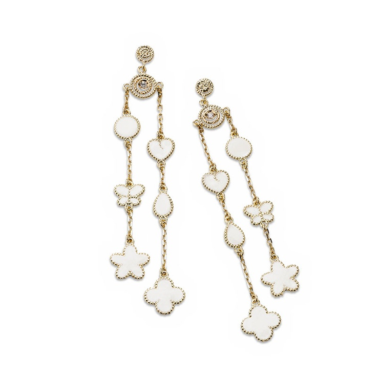 Roberto Coin Bollicine earrings in 18kt yellow gold with white enamel and diamonds.