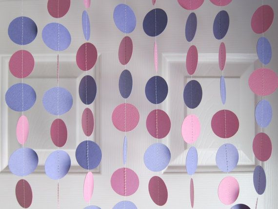 Paper Garland, Pink and Purple Garland, Princess Party Decorations, 1st Birthday Decorations, Baby Shower Decorations, Tea Party Decorations via Etsy