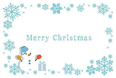 結晶と雪だるま クリスマス 2016  無料 イラスト 雪の結晶イラストが描かれた、冬を感じるクリスマスカード。両手を挙げた雪だるまのイラストも可愛いポイントです。