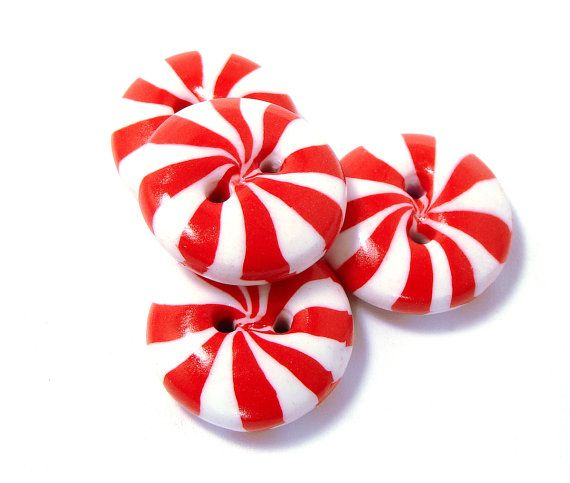 Polymer clay buttons red white peppermint candies set of four on Etsy, $8.50