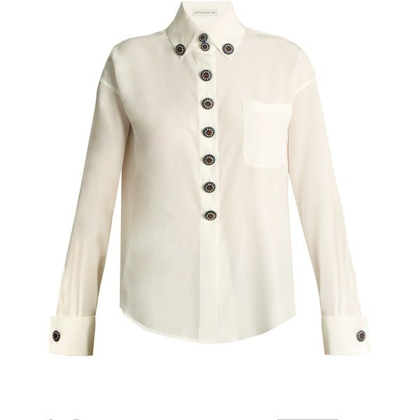 Etro Luneville button-embellished silk shirt ($940) ❤ liked on Polyvore featuring tops, french cuff shirts, white collar shirt, white top, metallic shirt and white collar top
