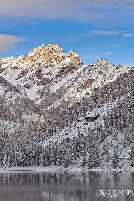 Snowy Sunrise at Lago di Braies by Joerg Bonner South Tyrol Trentino Alto Adige