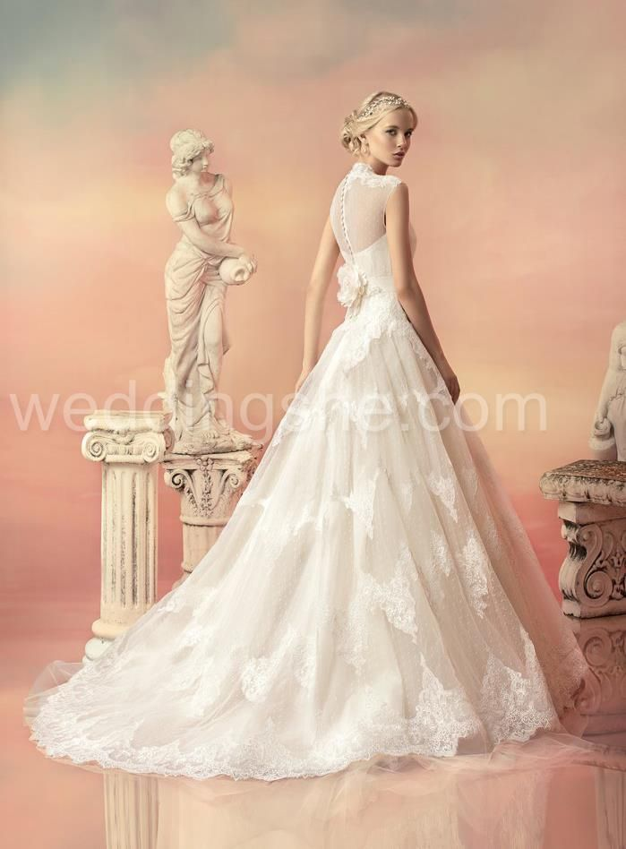 Elegant A-Line Jewel Floor-Length Lace Wedding Dresson Sale With Price USD$ 184.29 : Weddingshe.com