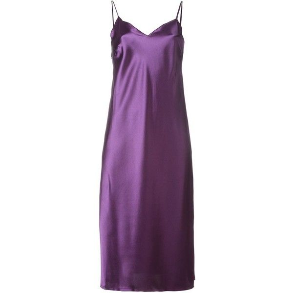 Marques Almeida Satin Cami Dress found on Polyvore featuring dresses, short dress, purple cocktail dress, purple cami, short purple dresses, short dresses and mini dress