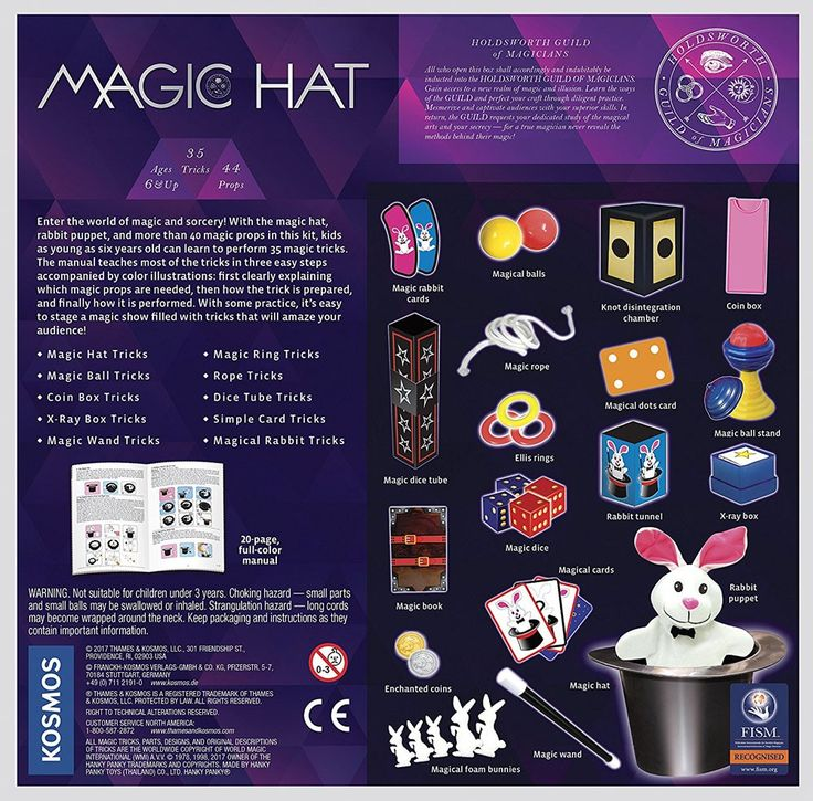 With the magic hat and rabbit puppet, as well as more than 40 other magic props, young kids can learn and perform 35 cool magic tricks.