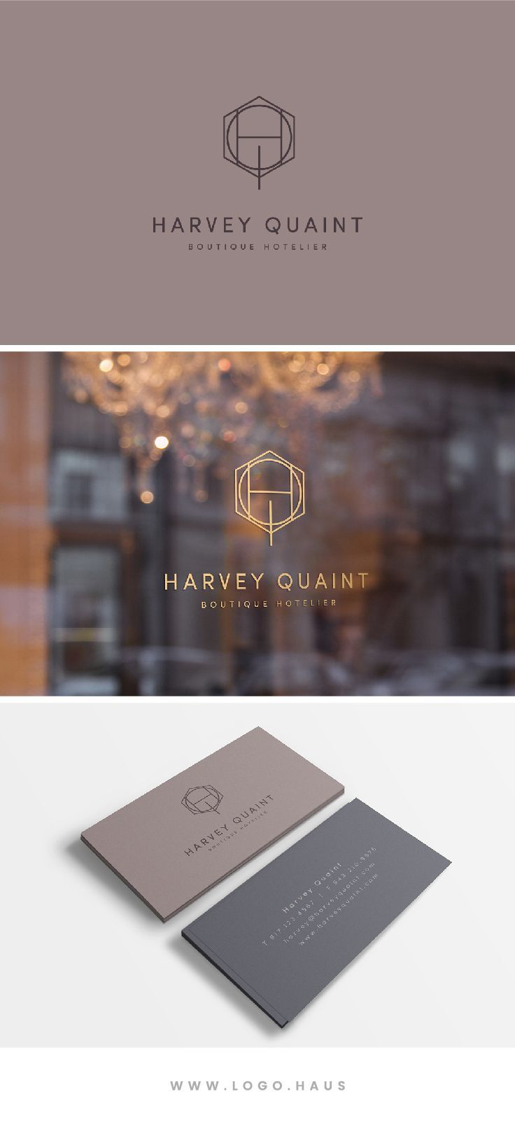 The Harvey Quaint logo design is an elegant geowire monogram combined with modern sans serif type. This logo design kit would work well for an individual, boutique, specialty goods, restaurant or hospitality brand.
