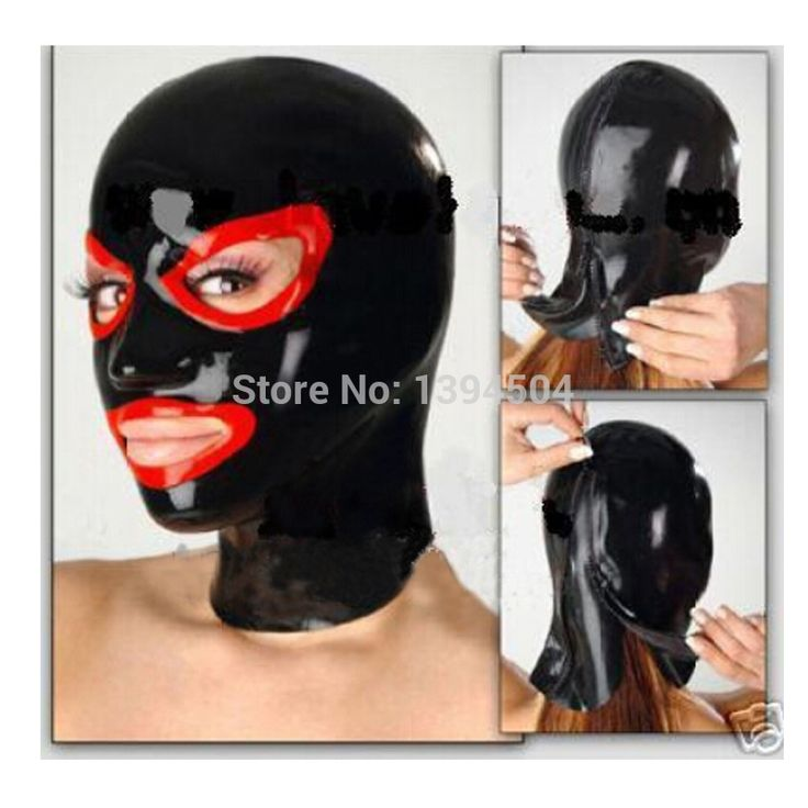 Hot Promotion new Women handmade exotic Latex Hoods Mask Open spliced color Common Hood Spliced Free Shipping Fast Delivery