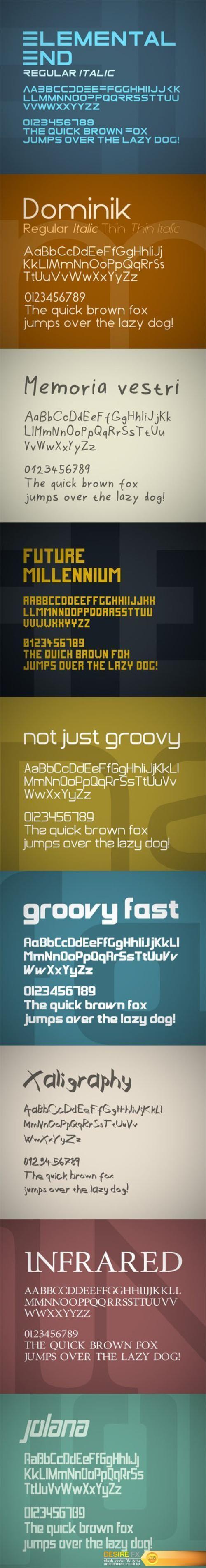 9 Fonts Pack TTF  http://www.desirefx.me/9-fonts-pack-ttf/