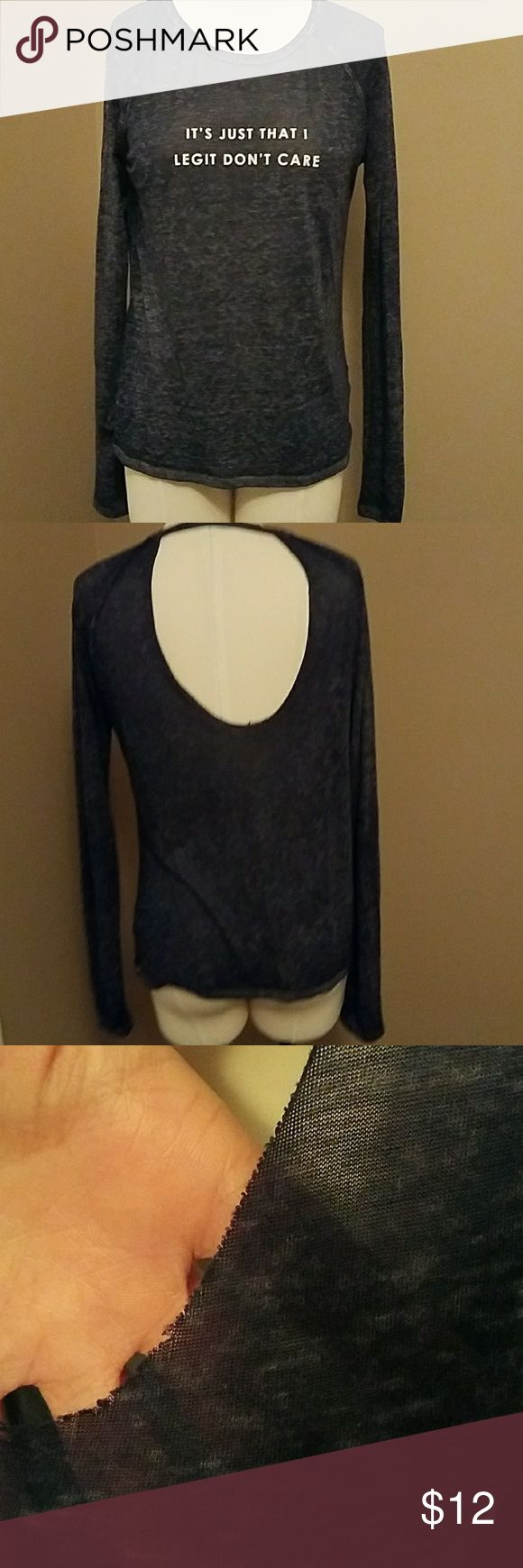 Burnout Tee Tissue tee..very thin. Really cute on because of the back. Perfect for lounging. Dark blue. Size not listed. Fits like a medium. Belk Tops Tees - Long Sleeve