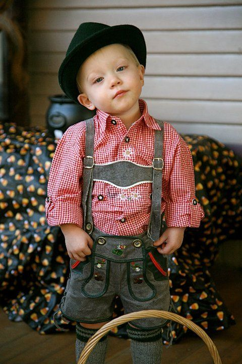 Little lederhosen. Halloween next year?  Would juice in a beer mug be too much??  Probably
