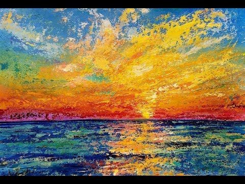 (7) SUNSET OCEAN Palette Knife Acrylic Tutorial FREE Step by Step Painting Lesson LIVE - YouTube