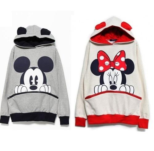 New Womens Fashion Cute Mouse Print Ears Loose Couple #Hoodie Jacket #minniemouse #disney