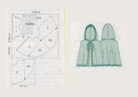 Capa y disfraz de Caperucita roja con patrones. ideas disfraces escolares…