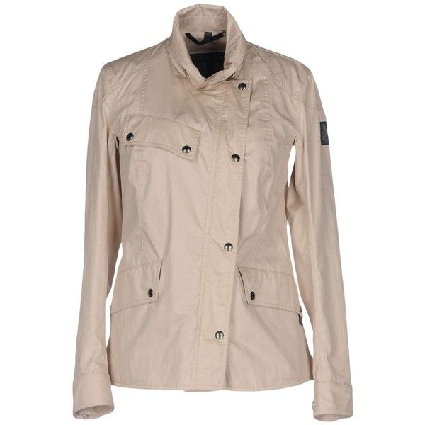 Belstaff Jacket (£269) ❤ liked on Polyvore featuring outerwear, jackets, beige, single breasted jacket, belstaff, beige jacket, snap jacket and zipper jacket