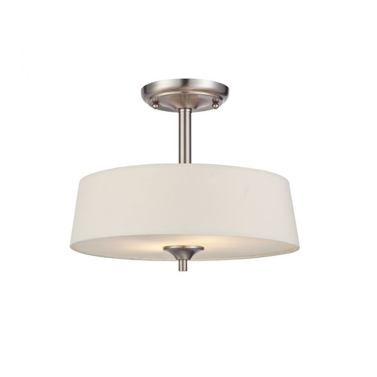 2 light semi flush ceiling fixture brushed nickel finish with white linen fabric shades sku